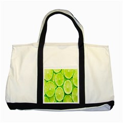Green Lemon Slices Fruite Two Tone Tote Bag