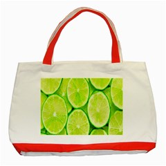 Green Lemon Slices Fruite Classic Tote Bag (red)