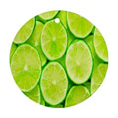 Green Lemon Slices Fruite Round Ornament (two Sides)