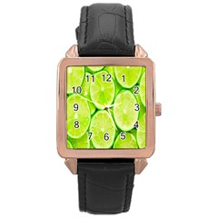 Green Lemon Slices Fruite Rose Gold Leather Watch