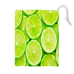 Green Lemon Slices Fruite Drawstring Pouches (extra Large)