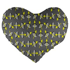 Illusory Motion Of Each Grain Arrow Grey Large 19  Premium Heart Shape Cushions by Alisyart
