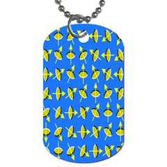 Illusory Motion Of Each Grain Arrow Blue Dog Tag (two Sides)
