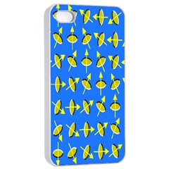 Illusory Motion Of Each Grain Arrow Blue Apple Iphone 4/4s Seamless Case (white) by Alisyart