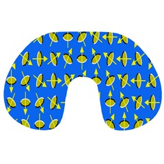 Illusory Motion Of Each Grain Arrow Blue Travel Neck Pillows