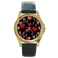 Love Song Round Gold Metal Watch by Valentinaart