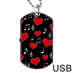 Love Song Dog Tag Usb Flash (one Side) by Valentinaart