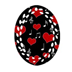Love Song Oval Filigree Ornament (two Sides) by Valentinaart
