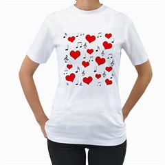 Love Song Pattern Women s T Shirt (white) (two Sided) by Valentinaart