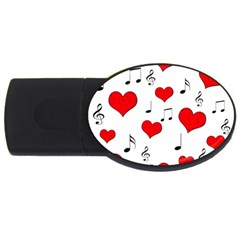 Love Song Pattern Usb Flash Drive Oval (4 Gb) by Valentinaart