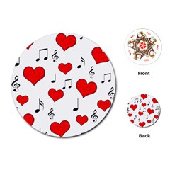 Love Song Pattern Playing Cards (round)  by Valentinaart