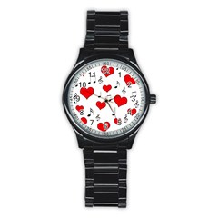 Love Song Pattern Stainless Steel Round Watch by Valentinaart