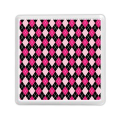 Argyle Pattern Pink Black Memory Card Reader (square)  by Nexatart
