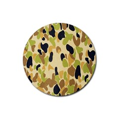 Army Camouflage Pattern Rubber Coaster (round)  by Nexatart