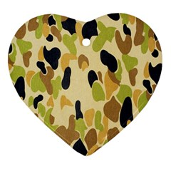 Army Camouflage Pattern Heart Ornament (two Sides)