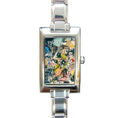 Art Graffiti Abstract Vintage Rectangle Italian Charm Watch
