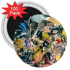 Art Graffiti Abstract Vintage 3  Magnets (100 Pack) by Nexatart