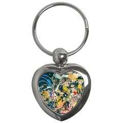 Art Graffiti Abstract Vintage Key Chains (heart)  by Nexatart