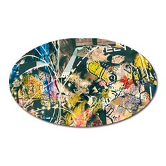 Art Graffiti Abstract Vintage Oval Magnet by Nexatart
