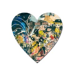 Art Graffiti Abstract Vintage Heart Magnet by Nexatart