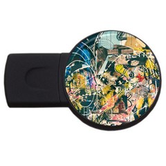 Art Graffiti Abstract Vintage Usb Flash Drive Round (4 Gb) by Nexatart