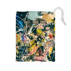 Art Graffiti Abstract Vintage Drawstring Pouches (large)  by Nexatart