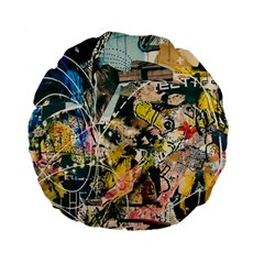 Art Graffiti Abstract Vintage Standard 15  Premium Flano Round Cushions by Nexatart