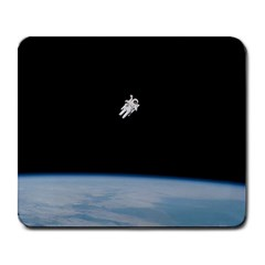 Astronaut Floating Above The Blue Planet Large Mousepads