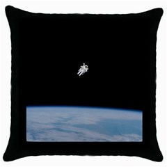 Astronaut Floating Above The Blue Planet Throw Pillow Case (black) by Nexatart