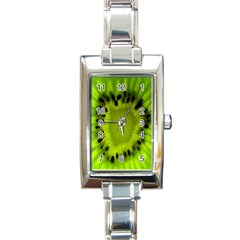 Kiwi Fruit Slices Cut Macro Green Rectangle Italian Charm Watch