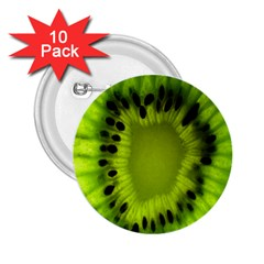 Kiwi Fruit Slices Cut Macro Green 2 25  Buttons (10 Pack)  by Alisyart