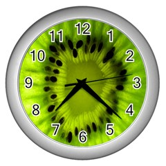 Kiwi Fruit Slices Cut Macro Green Wall Clocks (silver)  by Alisyart