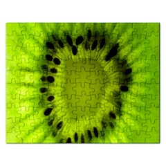 Kiwi Fruit Slices Cut Macro Green Rectangular Jigsaw Puzzl by Alisyart
