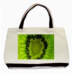 Kiwi Fruit Slices Cut Macro Green Basic Tote Bag by Alisyart