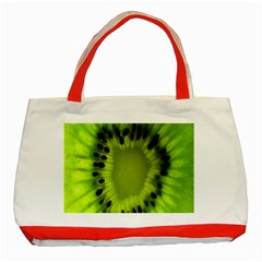 Kiwi Fruit Slices Cut Macro Green Classic Tote Bag (red) by Alisyart