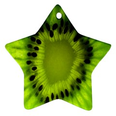 Kiwi Fruit Slices Cut Macro Green Star Ornament (two Sides) by Alisyart
