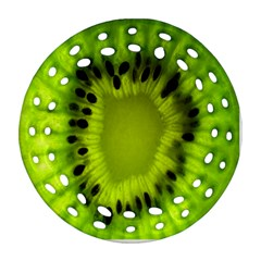 Kiwi Fruit Slices Cut Macro Green Round Filigree Ornament (two Sides) by Alisyart