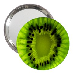 Kiwi Fruit Slices Cut Macro Green 3  Handbag Mirrors by Alisyart