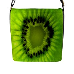 Kiwi Fruit Slices Cut Macro Green Flap Messenger Bag (l)  by Alisyart