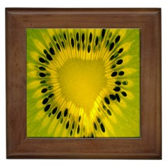 Kiwi Fruit Slices Cut Macro Green Yellow Framed Tiles by Alisyart