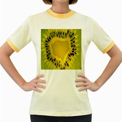 Kiwi Fruit Slices Cut Macro Green Yellow Women s Fitted Ringer T Shirts