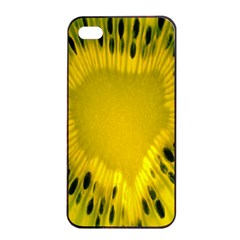 Kiwi Fruit Slices Cut Macro Green Yellow Apple Iphone 4/4s Seamless Case (black) by Alisyart