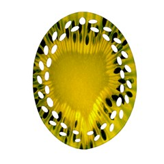 Kiwi Fruit Slices Cut Macro Green Yellow Oval Filigree Ornament (two Sides) by Alisyart