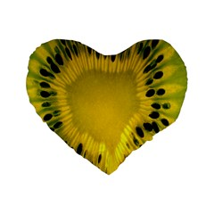 Kiwi Fruit Slices Cut Macro Green Yellow Standard 16  Premium Heart Shape Cushions by Alisyart