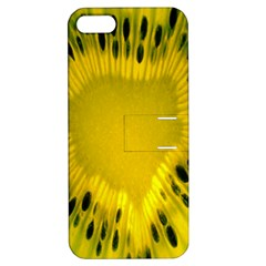 Kiwi Fruit Slices Cut Macro Green Yellow Apple Iphone 5 Hardshell Case With Stand by Alisyart