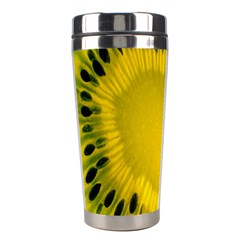 Kiwi Fruit Slices Cut Macro Green Yellow Stainless Steel Travel Tumblers by Alisyart