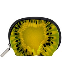 Kiwi Fruit Slices Cut Macro Green Yellow Accessory Pouches (small)  by Alisyart