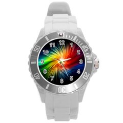 Lamp Light Galaxy Space Color Round Plastic Sport Watch (l) by Alisyart