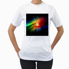 Lamp Light Galaxy Space Color Women s T Shirt (white)