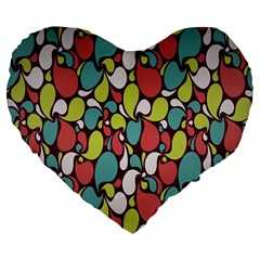 Leaf Camo Color Flower Large 19  Premium Flano Heart Shape Cushions by Alisyart